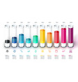 bars chart infographics with colorful 3d glass vector image