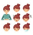 beautiful woman and expression cartoon vector image vector image