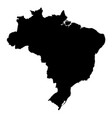 brazil - solid black silhouette map of country vector image
