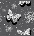 butterflies androses -butterfly gardenseamless vector image