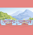 cafe open terrace with table chair in mountains vector image