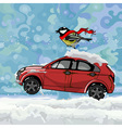 cartoon bird fluttering scarf sitting on a car vector image vector image