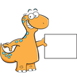 Cartoon brontosaurus holding a sign vector image vector image
