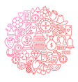 casino royal line icon circle design vector image vector image