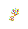 colorful pets footprint logo vector image
