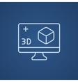 Computer monitor with 3D box line icon vector image vector image