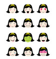 cute emoji collection kawaii asian girl face vector image vector image