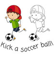 doodle boy playing football vector image vector image