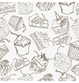 Doodle cake seamless pattern background vector image vector image