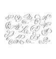 doodle funny brush calligraphy flourish set vector image vector image