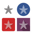 dotted icon star in four variants with short vector image