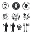 Farmers market set of labels badges emblems vector image
