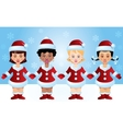 Four Santa-girls vector image vector image