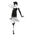 funny flapper girl wearing vintage style clothes vector image vector image