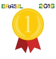 Gold medal with inscription in Portuguese and vector image vector image