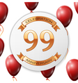 Golden number ninety nine years anniversary vector image vector image