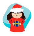 greeting card with christmas cartoon girl holding vector image vector image