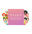 group multi ethnic women standing behind board vector image vector image