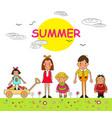 group of children summer boys and girls children vector image vector image
