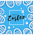 happy easter greetings card eggs in paper cut vector image