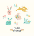 happy easter set of easter bunnie for card vector image vector image