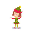 happy little girl in the costume of elf kid in vector image vector image