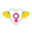 heart love with female gender symbol pop art style vector image vector image