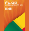 independence day of benin flag and patriotic vector image vector image