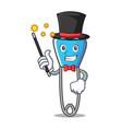 magician safety pin mascot cartoon vector image