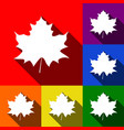 Maple leaf sign set of icons with flat