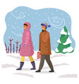 married couple in warm clothes is walking in the vector image