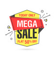 mega sale banner template in flat trendy memphis vector image vector image