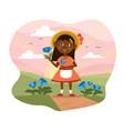pretty little girl picking fresh flowers