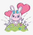 rabbit with hearts to celebrate valentine day vector image vector image