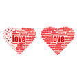 red heart made up of words and stars vector image