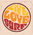 round badgelive love surf vector image vector image
