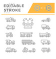 set line icons trucks vector image