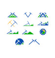 set of mining logo design template vector image