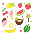 set summer fruits ice cream and other food vector image vector image