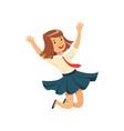 smiling happy girl character in school uniform vector image vector image