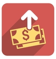 Spend Money Flat Rounded Square Icon with Long vector image vector image