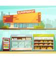 Supermarket 2 Retro Cartoon Banners Set vector image vector image