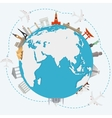 The concept of traveling around the world vector image vector image