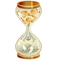 Time is money Hourglass coins and notes vector image