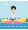 Tourists riding a banana boat vector image vector image