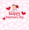valentine card template with girl kissing boy vector image