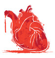 watercolor human heart with splashes of blood vector image vector image