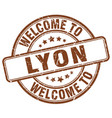 welcome to lyon brown round vintage stamp vector image vector image