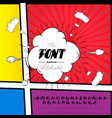 handmade 2 font on the page of the comic strip in vector image