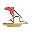 pirate ship sail adventure flag doodle vector image